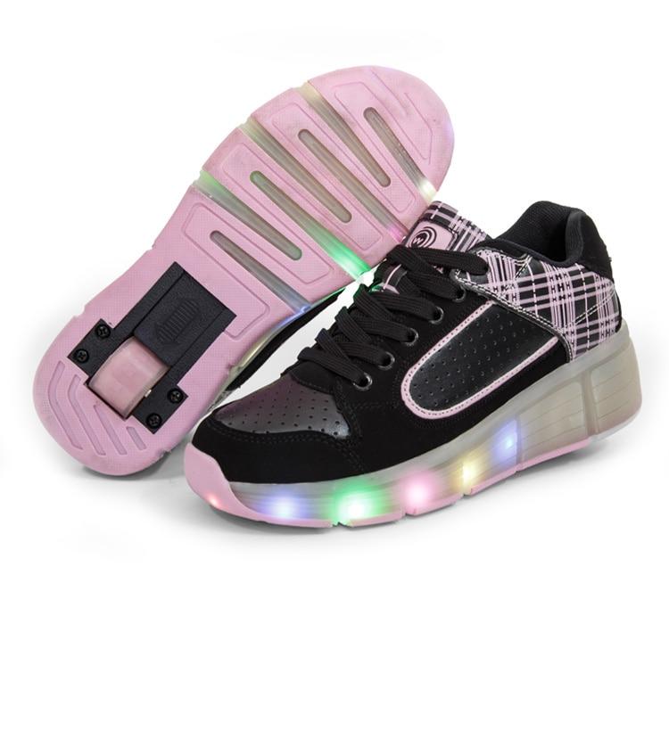 Roues Chaussures pour Enfants Led Lumineux Chaussures Pour Garçons Filles Light Up avec roue Casual Enfants Enfants Rougeoyant enfants sneakers rose