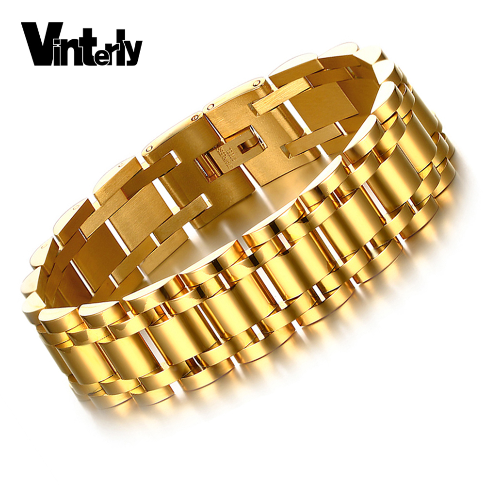 Vinterly men 39 s gold color stainless steel jewelry for What is gold polished jewelry