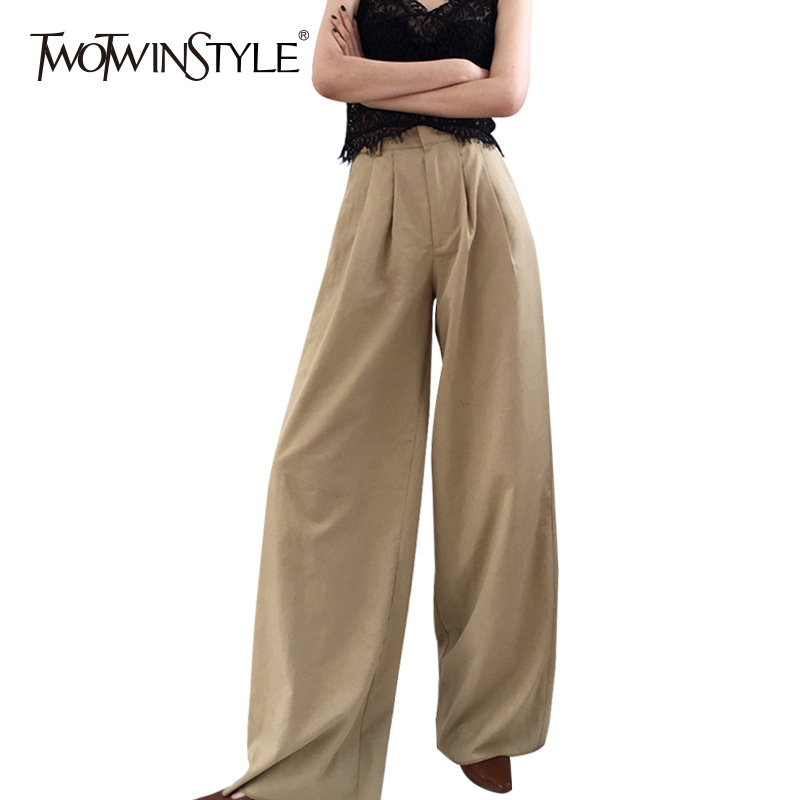 TWOTWINSTYLE Ruched   Wide     Leg     Pants   Female High Waist Zipper Pocket Big Size X Long Trousers Spring Fashion OL Clothing 2018