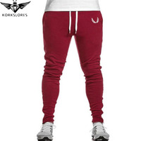 KORKSLORES Red High Quality Jogger Pants Men Fitness Bodybuilding Gyms Pants For Runners Clothing Autumn Sweat