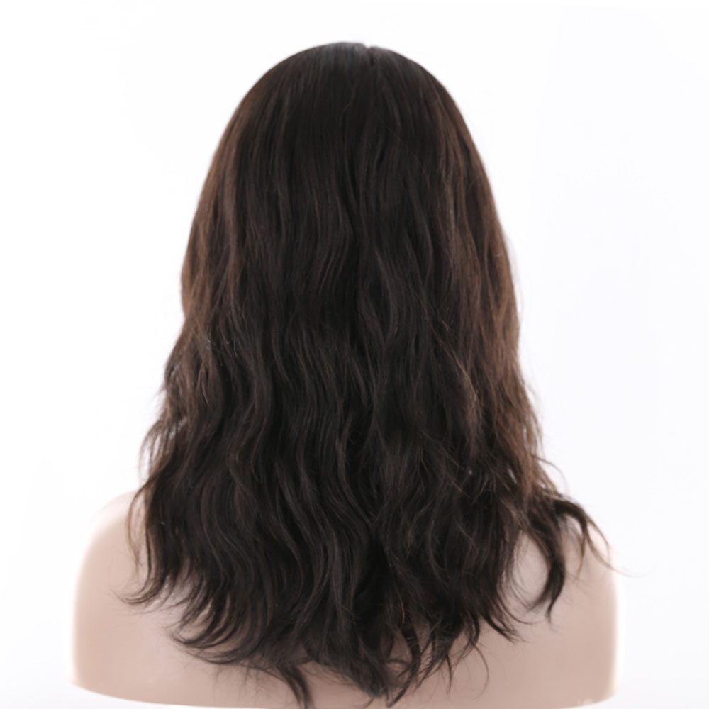 X-TRESS Natural Wave Human Hair Wigs With Bangs 100% Brazilian Remy Hair Wigs For Women 18 Free Part Natural Color Perruques