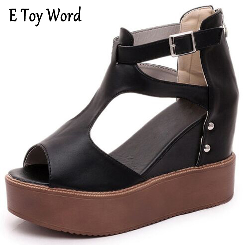 E TOY WORD Summer Shoes Woman Sandals 10CM High Heels Women Casual Shoes Wedges Platform Sandals Roman Sandals zapatos mujer 2017 summer women shoes platform wedges sandals high heels woman casual shoes fashion hemp rope rivet punk roman gladiator shoes