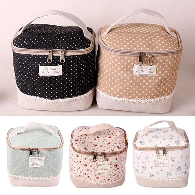 2639437e3a4 Cotton Linen Floral Dot Cosmetic Bag Women Makeup Case Travel Organizer  Hand held Toiletry Bag Zipper Beauty Case Large Capacity-in Cosmetic Bags    Cases ...