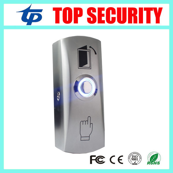 Access control system push exit button door release exit switch with LED light stainless steel door exit push button E02S free shipping plastic exit button exit switch for door access control system door push exit door release switch with back box