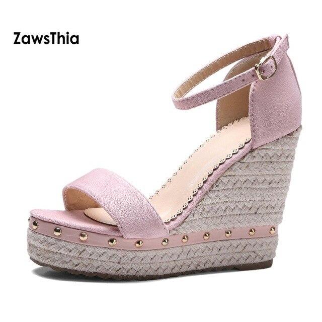 3781cbbe7f3 ZawsThia Girl Studded Wedge Sandals Shoes High Heels Open Toe Platform  Women Summer Shoes With Buckle Strap Sandalia Feminina