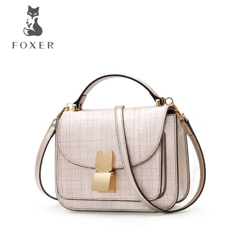 купить FOXER bags for women 2018 new women leather bag fashion luxury handbags women bags designer women leather handbags shoulder bag по цене 4600.03 рублей