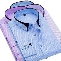 New 2019 Men Striped Plaid Shirts Casual Long Sleeved Men Shirt Social Button Up Casual Camisa Masculina Purple Blue 5XL