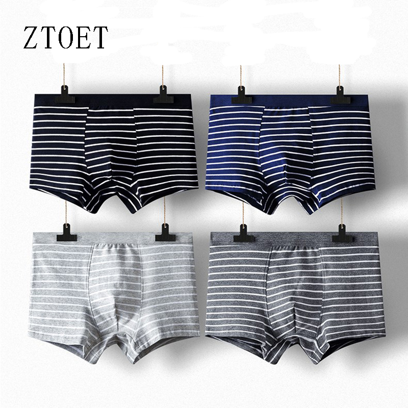 Large Size Sexy Underwear Men Stripe Boxer 1pieces/lot Male Panties Shorts Fashion Striped  Boxer Homme Soft Cotton Big B Male