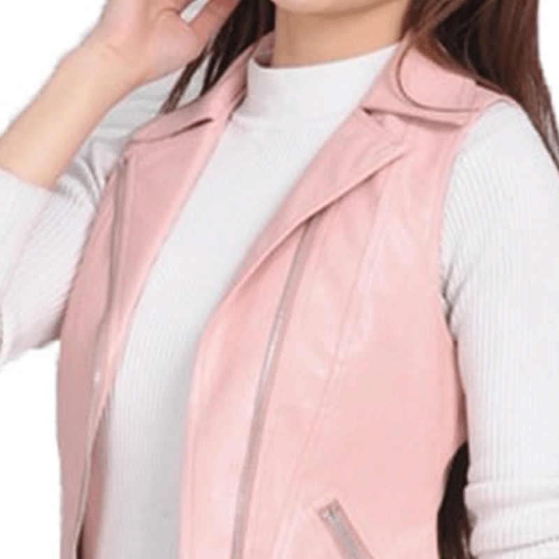 プラスサイズカジュアル革のジャケットの女性ベスト革コートジッパーショートジレファム Casaco Feminino オートバイベスト 37