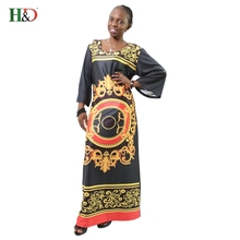 H&D 2017 new style african Traditional clothing dahiki 100% cotton bazin large elastic print famous african dresses for women(China)