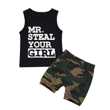 OKLADY Summer Newborn Baby Boy Clothes Set Letter Print Mr Steal Your Girl Infant Vest Toddler Outfit Camo Pants Dropshipping 1T