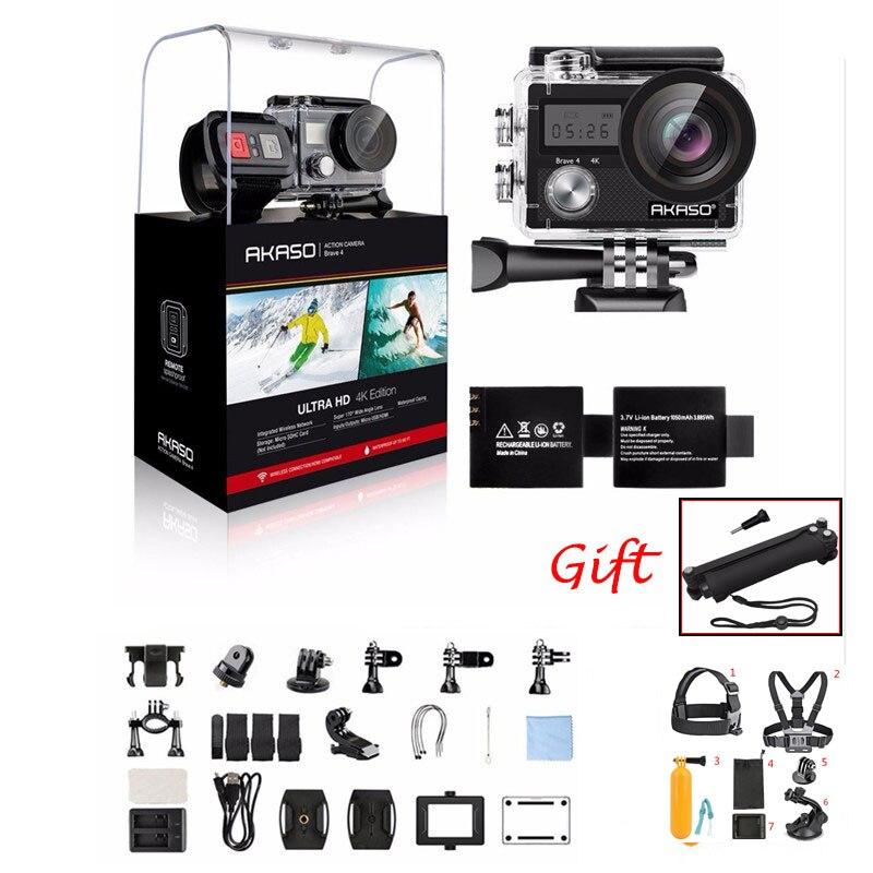 AKASO Brave 4 K 20MP Wifi caméra d'action Ultra HD avec EIS 30 m sous-marine étanche à distance sport caméscope + accessoires casque