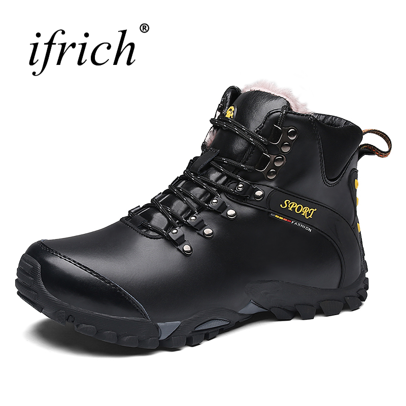 <font><b>Mens</b></font> Climbing Hiking <font><b>Shoes</b></font> Outdoor Winter Warm Snow Boots Black Brown <font><b>Men</b></font> Mountain Boots Leather Comfortable Sport Trainers