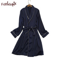 Fdfklak Female Gown Spring Summer Sexy Robe Silk Bathrobe For Women Bridesmaid Robe Black/Navy Dressing Gowns For Women Q0736