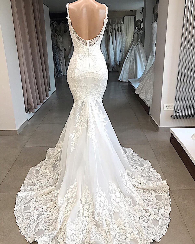 Image 2 - Vestidos De Novia White Mermaid Wedding Dress Backless Sexy V Neck Lace Wedding Gowns Handmade Appluques Bridal Dress gelinlik-in Wedding Dresses from Weddings & Events