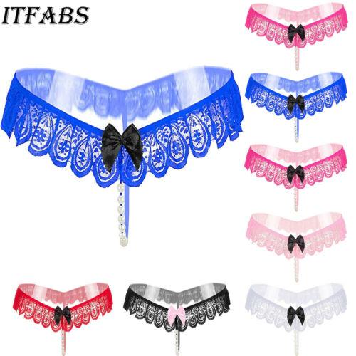 Lady Pearl Bead V-string Panties Thong Knickers Lingerie Underwear G-string