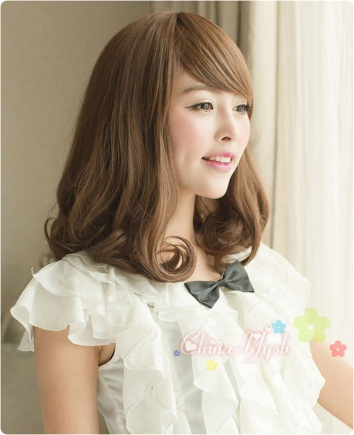 Lovely Medium Long Curly Wavy Full Wigs Japanese Rinka Haircut Wig