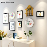7pcs Wooden Picture Frame Set with Shelf Collage Photo Frame Wall Large Photo Frame Vintage Picture Frames for Home Decoration