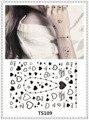 YEEECH Temporary Tattoos Sticker Women Heart Love Black White Transfer Fake Harajuku Small Finger Ear Neck Hand Bracelet Art