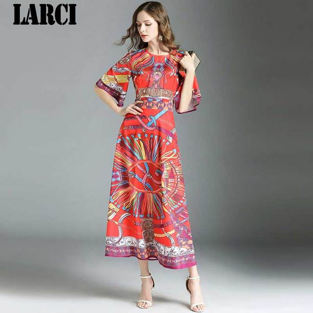 214b3963c73c4 US $28.88 |LARCI Vintage 2018 autumn Short Sleeve Boho Long Dress Floral  Print Runway Designer Women Maxi Acetate Dresses N7328-in Dresses from ...
