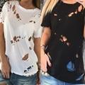 New Style Short Sleeves T-shirt Women Summer T-Shirts Fashion Holes O-Neck Regular Length Shirt