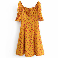 FIRSTTO 2019 Vintage Bohemian Ethnic Floral Print Orange Square Collar Dress Women Tied Bow Short Sleeve Split Hem A Line Dress