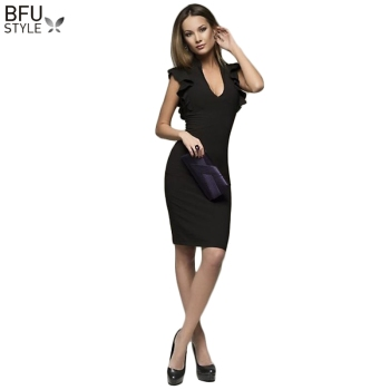 2019 Summer Autumn Sleeveless Ruffle Bodycon Dress Elegant Women V-Neck Sexy Party Dress Nightclub Black Gary Midi Vestidos 1
