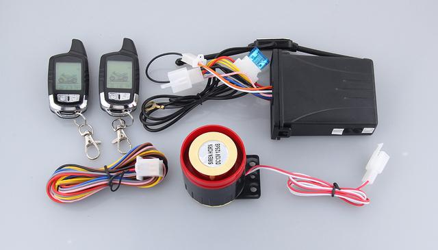 Função de potência! kit de 2 vias de alarme da motocicleta motor de arranque remoto, auto re-braço e alarme ACC ilegal EM iniciar, aviso chocante
