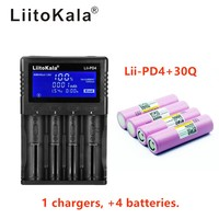 1 pcs liitokala lii-PD4 lcd 3.7 v 18650 21700 배터리 충전기 + inr18650 4 pcs 3.7 v 18650 3000 mah 30q 리튬 이온 충전식 batt