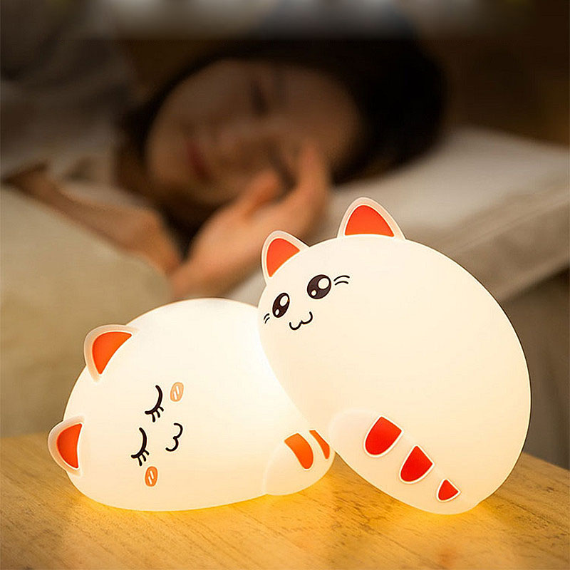 Touch Sensor LED Cat Lamp Night Light Colorful Change USB Rechargeable For Baby Bedroom Sleeping Novelty Romantic Ornament Cute