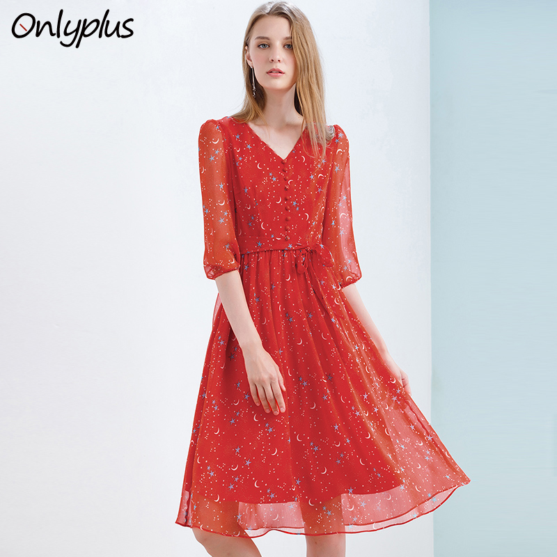 Onlyplus Red Chiffon Dress Slim Elegant Autumn Sweet Party Dresses Printed Star Moon New Design For Women Vestidos