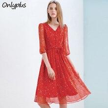 Onlyplus Red Chiffon Dress Slim Elegant Autumn Sweet Party Dresses Printed Star Moon New Design For Women Vestidos