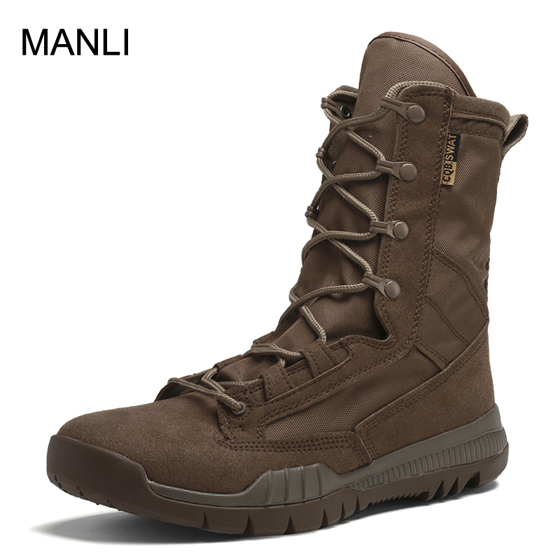 MANLI Men Hiking Shoes Brand Military Leather Boots Special Force Tactical Desert Combat Boats Outdoor Army Boots Hunting Shoes(China)