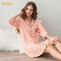 Spring and autumn sleeve  nightgown female summer cotton cardigan tracksuit skirt thin section
