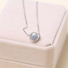 11mm pure 925 plata 100% Hecho A Mano de piedras semipreciosas Naturales Moonstone Collar Colgante Encanto de La Joyería Para la novia de Regalo