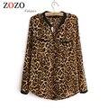 Falacs Zozo 2016 Женщины Блузка Leopard Печати С Длинным Рукавом V-образным Вырезом Топ Свободные Рубашки Плюс Размер Рубашки Clothing Camisa Feminina