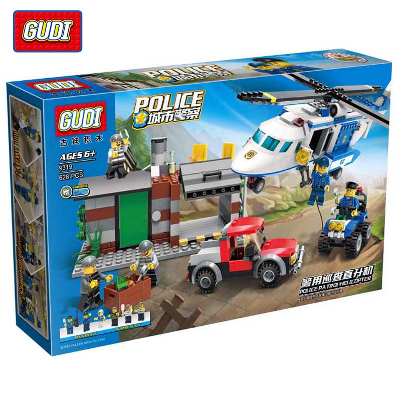 GUDI 628Pcs City Police Series Helicopter Figures Model Building Blocks Set Assembled Diy Bricks Toys Children Birthday Gifts city series police car motorcycle building blocks policeman models toys for children boy gifts compatible with legoeinglys 26014