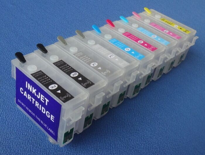 INK WAY Empty refillable ink cartridge for EPSON P600 ciss cis T7601-T7609,free shipping 850ml compatible empty refillable ink cartridge for epson stylus pro 10000 pro 10600 10000cf printers cartridge with chip t499