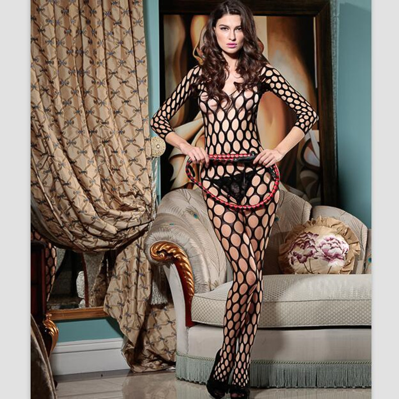 Women Sexy Lingerie 40D Erotic Fishnet Body Stocking Perspective Hollow Out Mesh Cloth Women Erotic Lingerie 8805