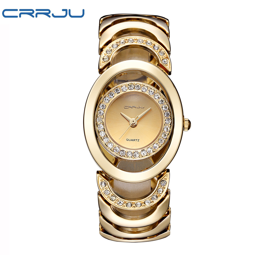 цена на CRRJU Brand Luxury Crystal Gold Watches Women Ladies Quartz Wristwatches Bracelet Steel Watch Relogio Feminino Relojes Mujer