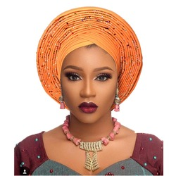 Weelderig Vrouwen Hoofddeksels traditionele Afrikaanse auto gele headtie vrouwen Headwrap mode tulband goede kwaliteit