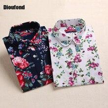 Dioufond blusa блузки feminina блузка цветочные рубашки топы длинным женские рукавом