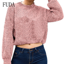 FUDA Women Autumn Sweaters and Pullovers Korean Style Long Sleeve Casual Crop Sweater Slim Solid Knitted Jumpers Sweter Mujer