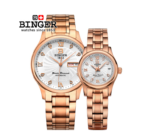 Original Binger brand good quality Watches ultra thin stainless steel business couples watch waterproof calendar Wristwatch
