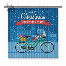 Nyaa Christmas Bicycle with Traditional Celebrating Winter Bike on Europe City Polyester Fabric Shower Curtain For Bathroom(China)