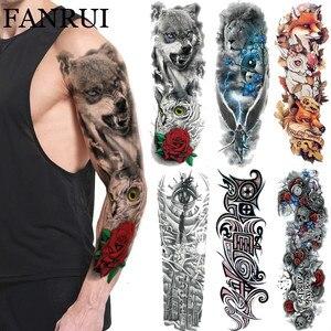 3D долговечная временная татуировка волка, племя цветов, совы, мужские тату наклейки на плечо, полная рука, искусственная татуировка для женщ...