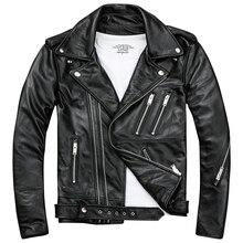 Черная Мужская Байкерская кожаная куртка с двойной Диагональной молнией из натуральной толстой воловьей кожи, приталенная короткая мотоциклетная куртка