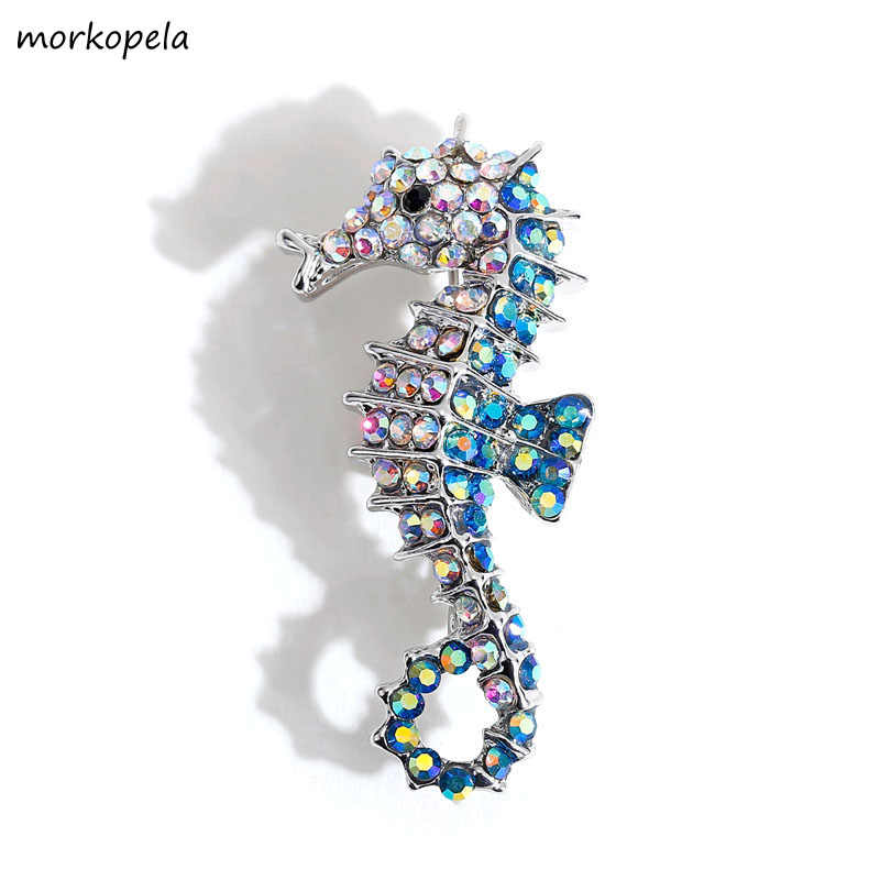 Morkopela Rhinestone Seahorse Pins Jewelry Fashion Animal Brooches for Women Crystal Pin Clothes Accessories