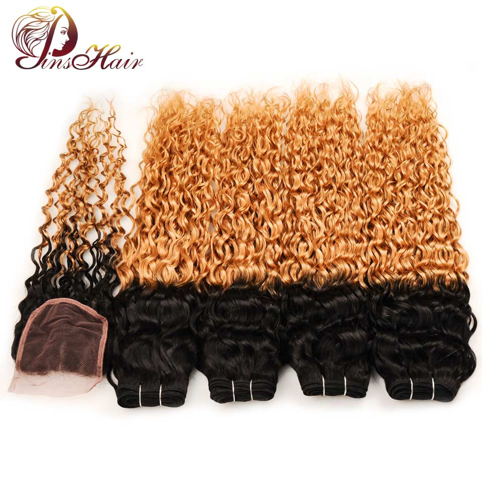 Pinshair Ombre 1B 27 Brazilian Water wave Hair Weave 4 Bundles With Closure Non-remy Wet Wavy 100 Human Hair With Closure