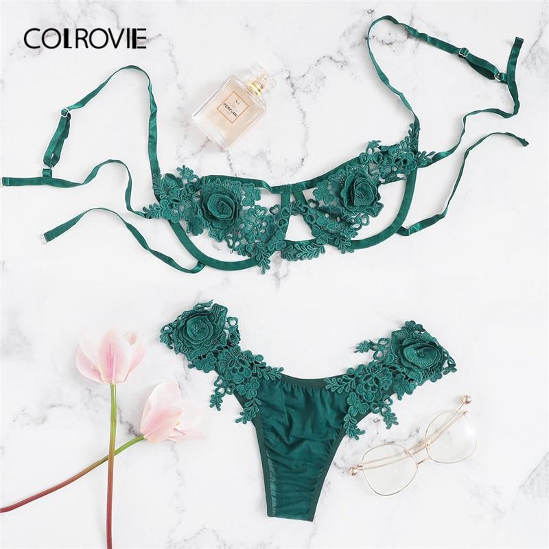 COLROVIE Green Floral Harness Appliques Lace Sexy Lingerie Set Women Intimates 2019 Black Underwire  Underwear Ladies Bra Set
